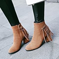 Frauen Veloursleder Stämmiger Absatz Absatzschuhe Stiefelette mit Reißverschluss Quaste Schuhe (088145065)