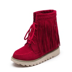 Frauen Veloursleder Flascher Absatz Flache Schuhe Geschlossene Zehe Stiefel mit Zuschnüren Quaste Schuhe (088126575)
