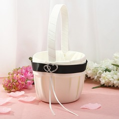 Beautiful Flower Basket in Satin With Rhinestones (102025643)