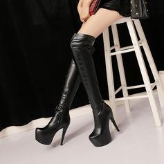 Frauen PU Stöckel Absatz Absatzschuhe Plateauschuh Stiefel Kniehocher Stiefel mit Reißverschluss Schuhe (088137520)