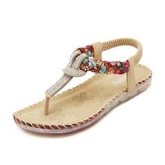 Frauen Kunstleder Flascher Absatz Sandalen Flache Schuhe mit Strass Schuhe (087087971)