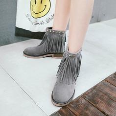 Frauen Veloursleder Stämmiger Absatz Absatzschuhe Stiefel Stiefelette mit Niete Reißverschluss Quaste Schuhe (088142827)