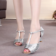 Women's Leatherette Sparkling Glitter Heels Sandals Latin With T-Strap Buckle Dance Shoes (053011481)