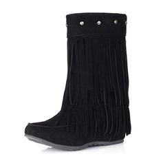 Frauen Veloursleder Keil Absatz Geschlossene Zehe Stiefel Stiefelette mit Niete Quaste Schuhe (088170990)