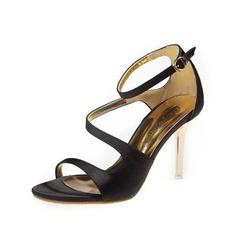 Атлас Высокий тонкий каблук Сандалии с пряжка обувь (087050194)