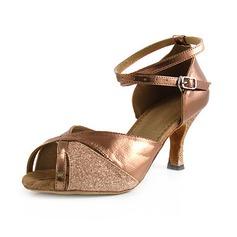 Kvinder Kunstlæder Mousserende Glitter Hæle sandaler Latin med Ankel Strop Dansesko (053013027)