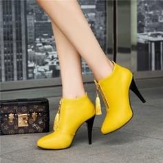 Frauen PU Stöckel Absatz Absatzschuhe Stiefelette mit Reißverschluss Quaste Schuhe (088145070)
