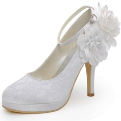 Women's Lace Stiletto Heel Closed Toe Pumps With Buckle Flower (047042434)