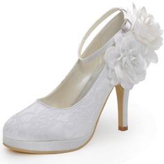Vrouwen Kant Stiletto Heel Closed Toe Pumps met Gesp Bloem (047042434)