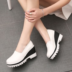 Women's Leatherette Wedge Heel Closed Toe Wedges With Split Joint shoes (086119386)