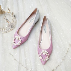 Women's Sparkling Glitter Flat Heel Closed Toe Flats With Pearl (047201447)