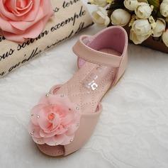 Mädchens Peep Toe Microfaser-Leder Flache Ferse Flache Schuhe Blumenmädchen Schuhe mit Strass Klettverschluss Blume (207126977)