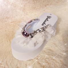 Frauen Stoff Keil Absatz Sandalen Flip Flops mit Strass Schuhe (087089800)