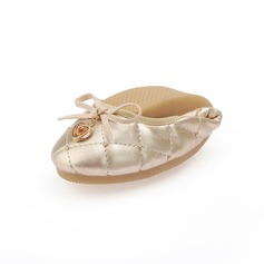 Leatherette Flat Heel Flats With Bowknot Sequin shoes (086059284)