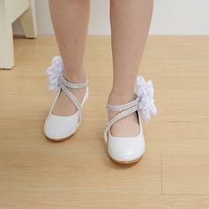 Mädchens Leder niedrige Ferse Round Toe Geschlossene Zehe Absatzschuhe mit Satin Schleife Klettverschluss Zuschnüren (207113585)