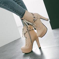 Frauen PU Stämmiger Absatz Absatzschuhe Plateauschuh Stiefel mit Niete Reißverschluss Zuschnüren Schuhe (088137515)