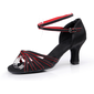 Women's Satin Heels Sandals Latin With Ankle Strap Dance Shoes (053006995)