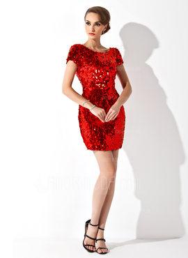 Sheath/Column Scoop Neck Short/Mini Sequined Cocktail Dress (016008376)