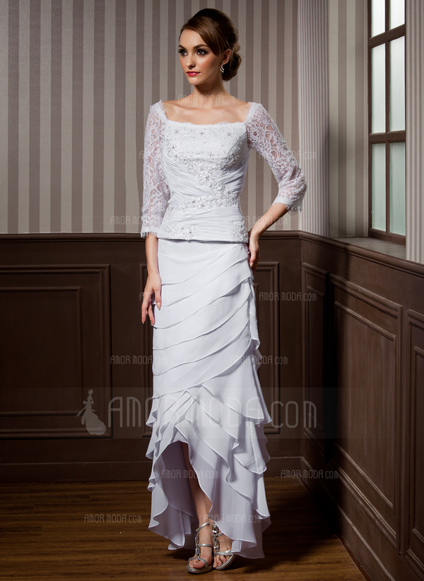 A-Line Square Neckline Asymmetrical Chiffon Wedding Dress With Lace Beading Cascading Ruffles (002012184)