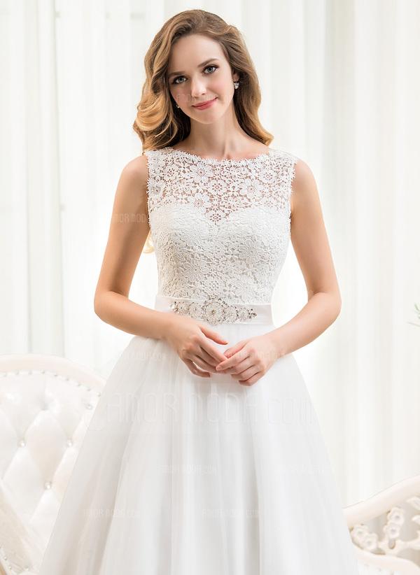 f8af5deb2f2d ... Balklänning Rund-urringning Tea-lång Tyll Spets Bröllopsklänning med  Beading Paljetter (002054369) ...
