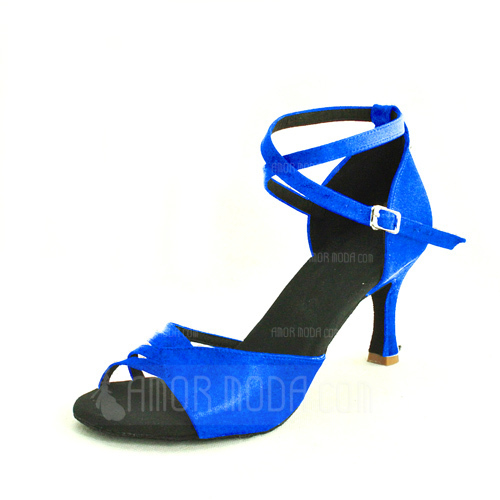 Women's Satin Heels Sandals Latin With Ankle Strap Dance Shoes (053013029)