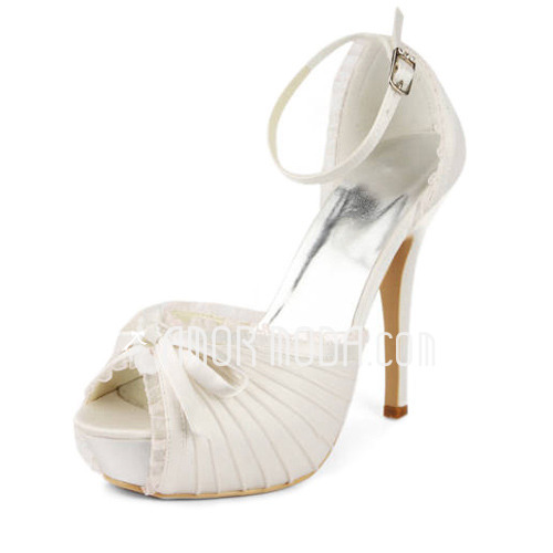 Women's Lace Satin Stiletto Heel Platform Sandals With Bowknot Buckle (047011801)