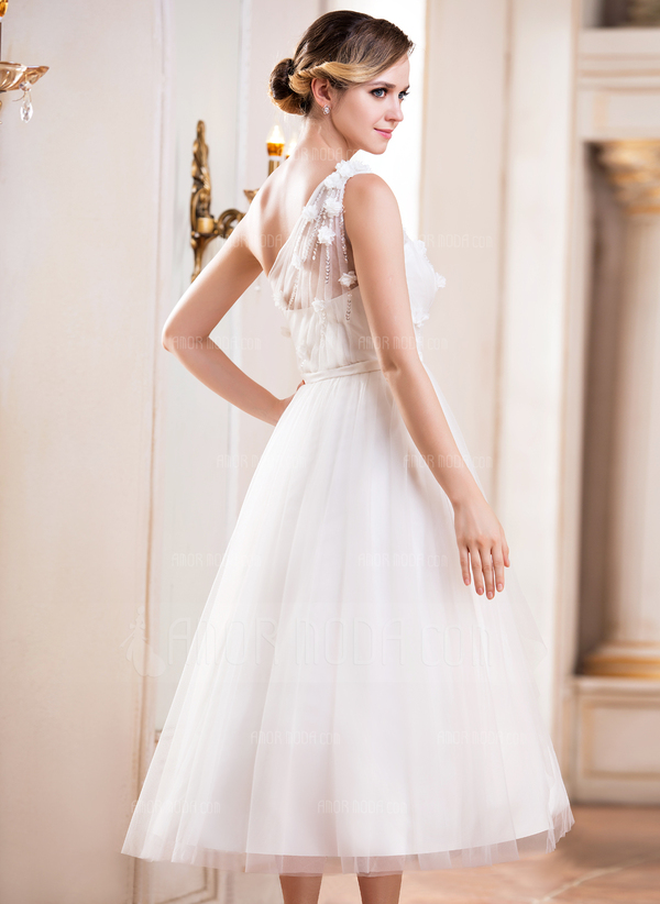 A-Line/Princess One-Shoulder Tea-Length Tulle Wedding Dress With Ruffle Beading Flower(s) Sequins (002047393)