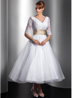 Ball-Gown V-neck Tea-Length Tulle Wedding Dress With Sash Beading Appliques Lace (002014739)