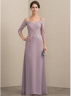 A-Line/Princess Sweetheart Floor-Length Chiffon Lace Mother of the Bride Dress With Sequins (008164073)
