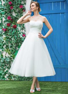 Vestidos princesa/ Formato A Amada Comprimento médio Tule Vestido de noiva com Pregueado (002042289)
