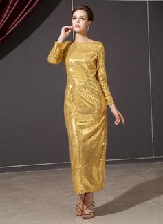 Платье-чехол Круглый Длина по щиколотку С блестками Платье для Отдыха (020025934)