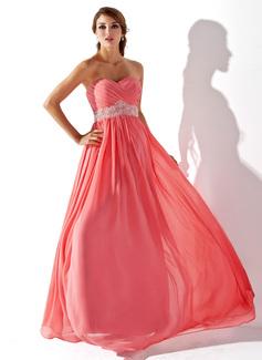 Empire Sweetheart Floor-Length Chiffon Prom Dresses With Ruffle Beading (018005353)