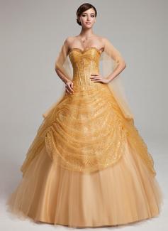 Платье для Балла В виде сердца Длина до пола Тюль С блестками Пышное платье с Рябь (021004561)