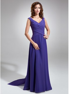 Chiffon V-neck Floor-length A-Line Bridesmaid Dress With Sash (007001484)