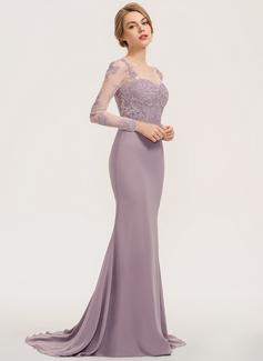 Trumpet/Mermaid Scoop Neck Sweep Train Chiffon Lace Bridesmaid Dress (007190716)