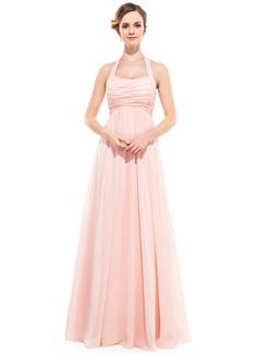 Empire Halter Floor-length Crinkle Chiffon Bridesmaid Dress (007051138)