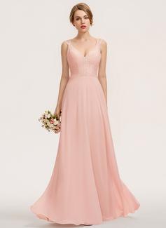 A-Line V-neck Floor-Length Chiffon Lace Bridesmaid Dress (007190713)