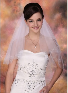 Two-tier Fingertip Bridal Veils With Cut Edge (006013296)