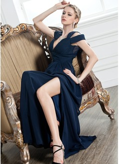 Трапеция/Принцесса V-образный Длина до пола шифон Вечерние Платье с Рябь Разрез спереди (017005249)
