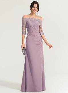 Sheath/Column Off-the-Shoulder Floor-Length Chiffon Evening Dress With Ruffle (017167681)