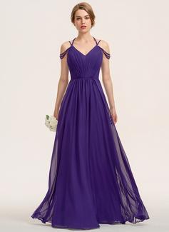 A-Line V-neck Floor-Length Chiffon Bridesmaid Dress With Ruffle (007190696)