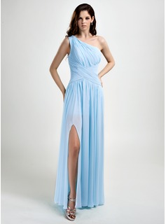 A-Line/Princess One-Shoulder Floor-Length Chiffon Prom Dresses With Ruffle Split Front (018015793)