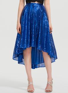 Трапеция асимметричный С блестками Платье Для Выпускного Вечера (018199629)