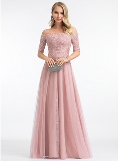 A-Line Off-the-Shoulder Floor-Length Tulle Evening Dress With Sequins (017198653)