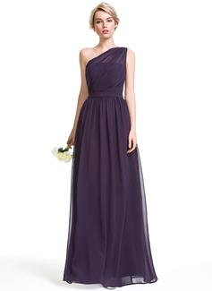 A-Line One-Shoulder Floor-Length Chiffon Bridesmaid Dress With Ruffle (007087736)