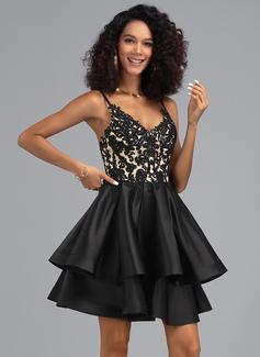 Трапеция V-образный Мини-платье Атлас Платье для Встречи Выпускников с блестки (022203129)