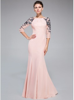 Trumpet/Mermaid Scoop Neck Floor-Length Chiffon Evening Dress With Ruffle Sequins (017041144)
