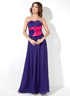 С завышенной талией возлюбленная Длина до пола шифон Свадебные Платье Для Беременных Невест с Лента Бант(ы) (016025854)