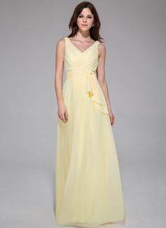 Vestidos princesa/ Formato A Decote V Longos De chiffon Vestido de festa com Pregueado (017025777)