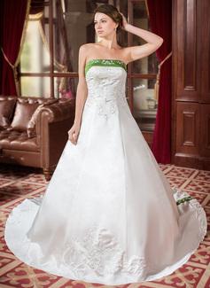 Платье для Балла Без лямок Царский поезд Атлас Свадебные Платье с Вышито Лента развальцовка (002000040)